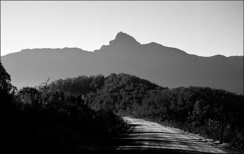 Mt Anne from the car going towards it at 7am on Scotts Peak Road