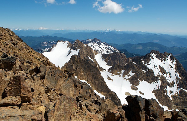 Looking south from the top of South Twin.  In the distance is Pilchuck, Three Fingers, Whitehorse, Rainier.