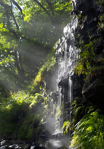 Small waterfall in the evening sun