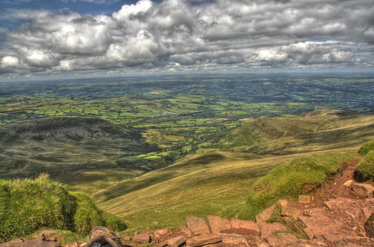 View from Pen y Fan looking North towards Brecon