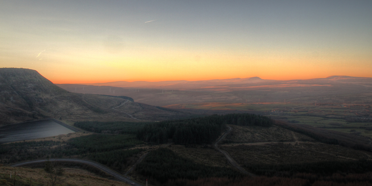 An HDR sunset shot overlooking Llyn Fawr and part of the Brecon Beacons