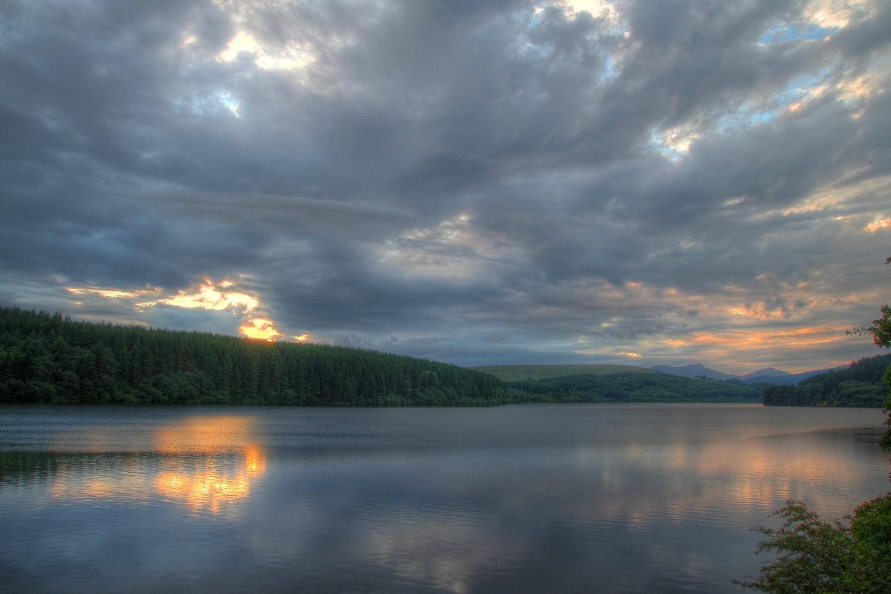 Sunset across Pontsticill reservoir