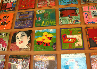 """""""peace tiles"""" in the performance space sent from around the world about the fight against AIDS.  dennilton, south africa"""