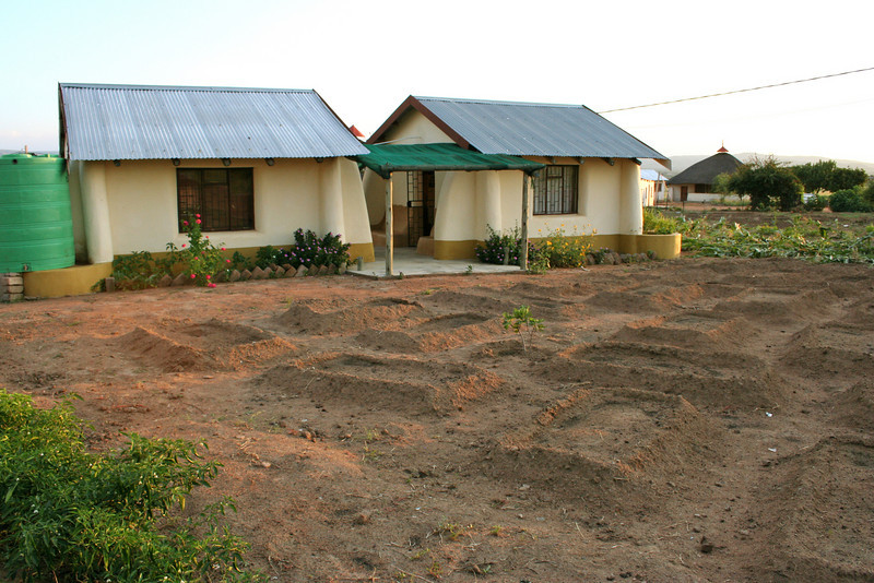 YWAV and NextAid offices at the dennilton site with newly seeded vegetable garden