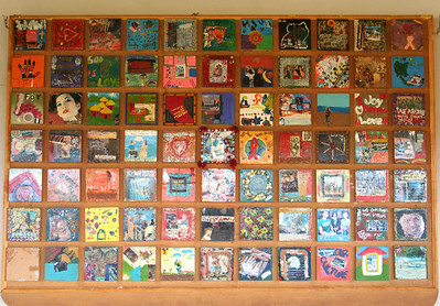 """peace tiles"" in the performance space sent from around the world about the fight against AIDS.  dennilton, south africa"