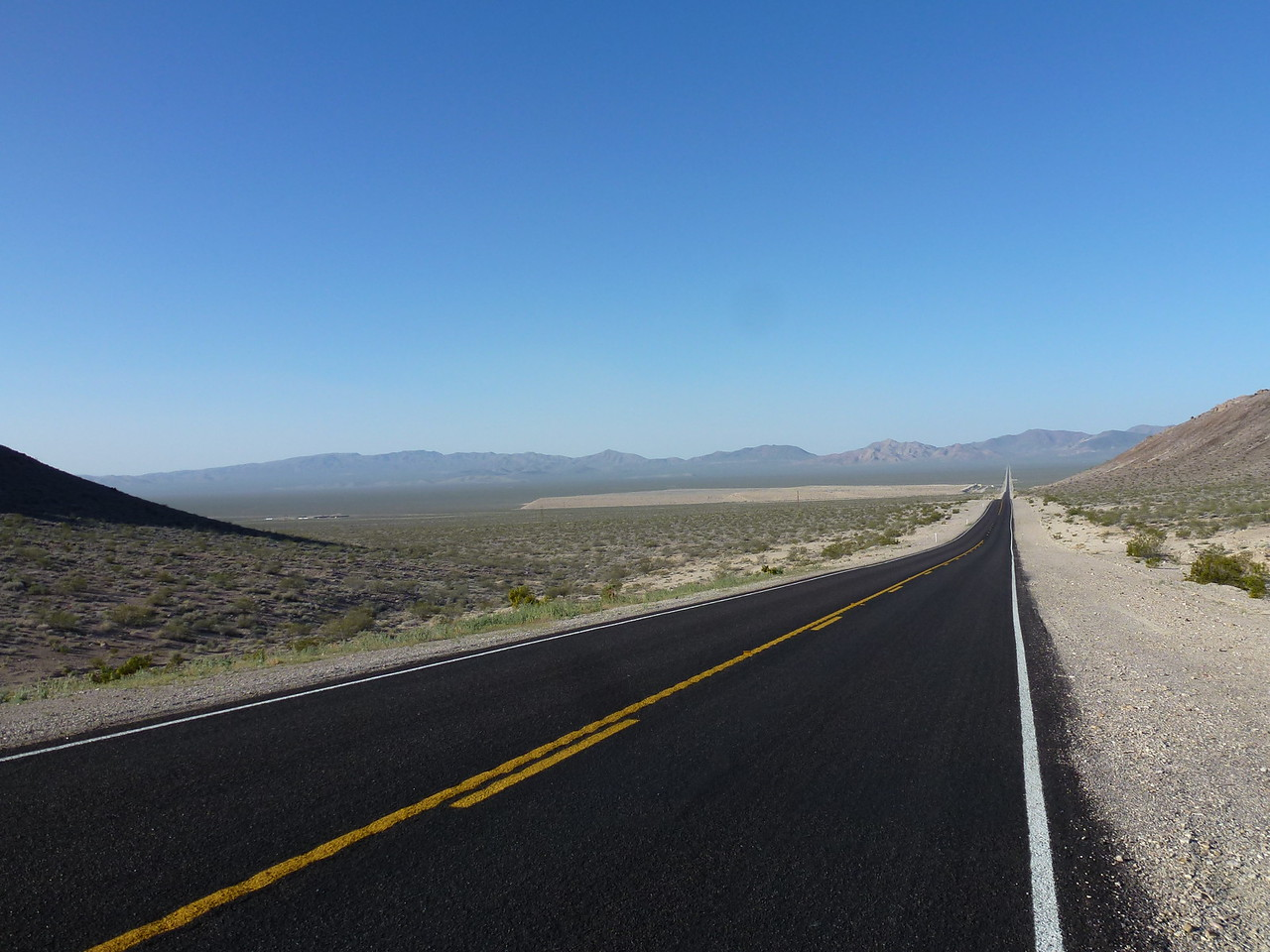 Love this view <br /> <br /> Halfway to the other side , is the Nevada -California state line .....also the boundary for Death Valley National Park .