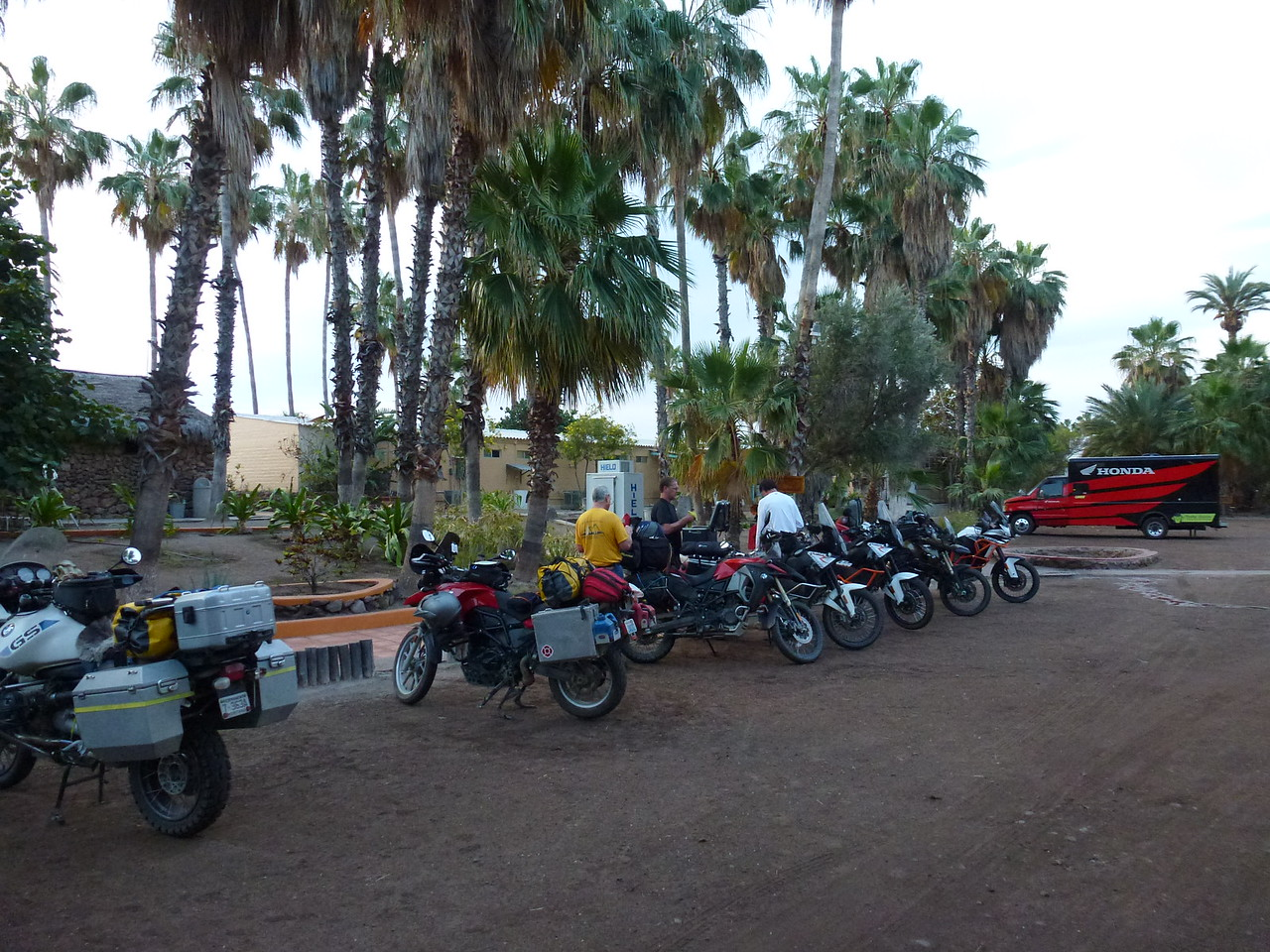 This group of bikes were making their way North <br /> <br /> They had ridden down to Cabo , last fall and then stowed their bikes and flew home .<br /> <br /> Then , in April , had flown back down and were headed home .