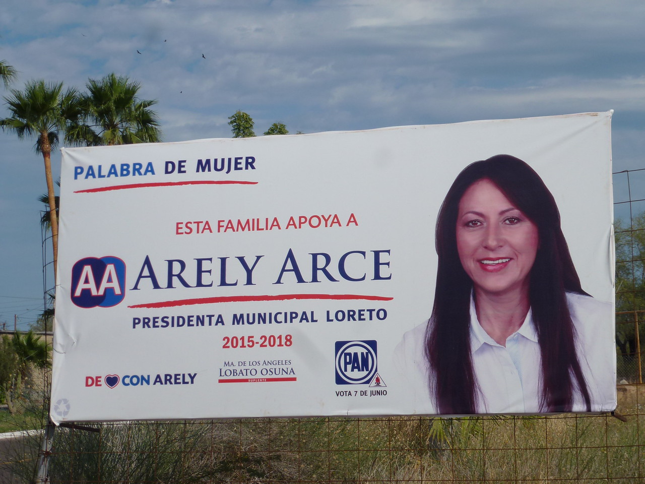 Election was June 7 <br /> <br /> About 500 hundred of these signs were plastered all over the town of Loreto <br /> <br /> I asked ---her name is pronounced  ( a really  air cee  )