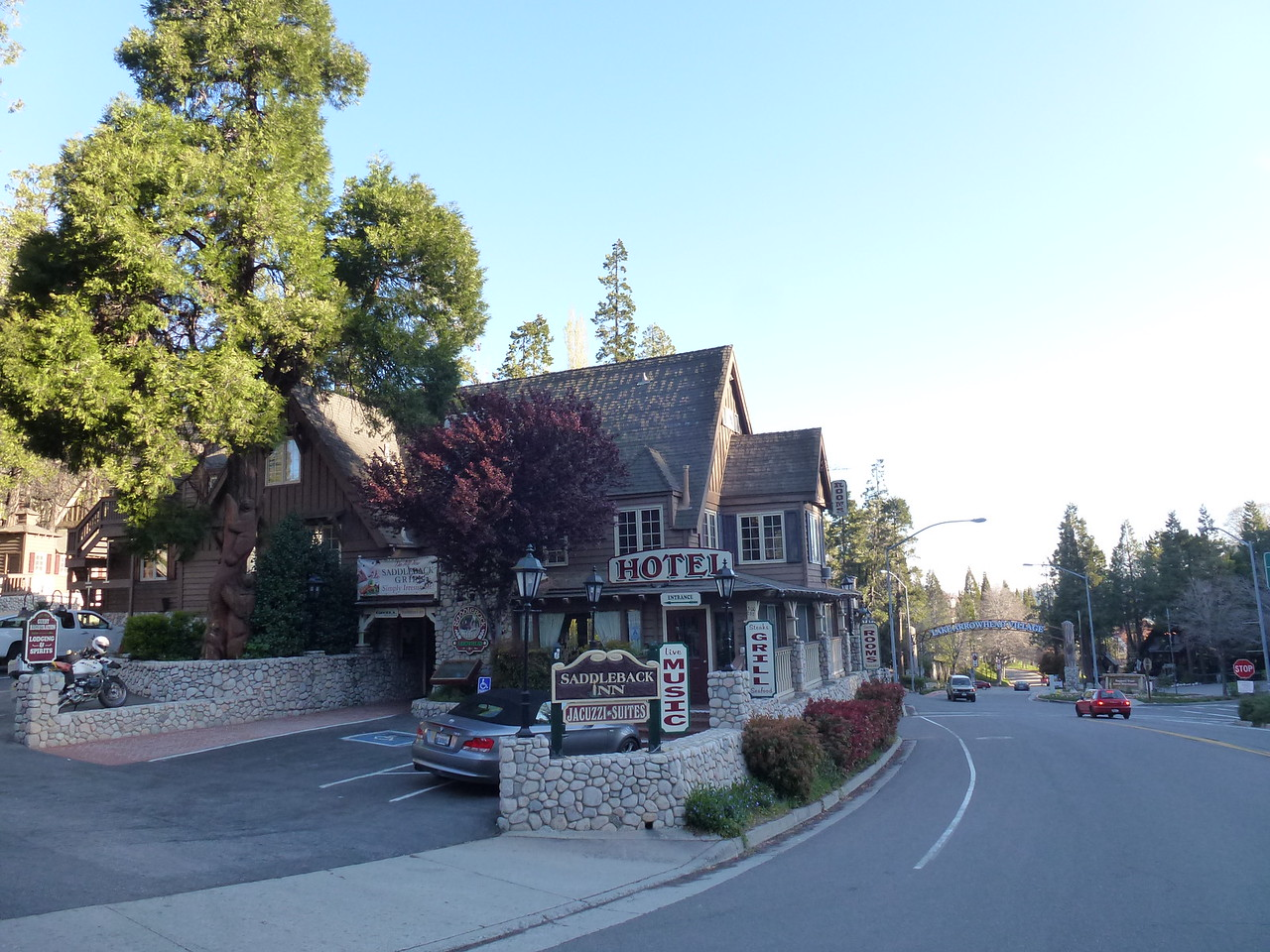 Lake Arrowhead , California in the San Bernardino mountains .<br /> <br /> Got a room here in this cool old hotel . <br /> <br /> They had music that night and some wonderful food .