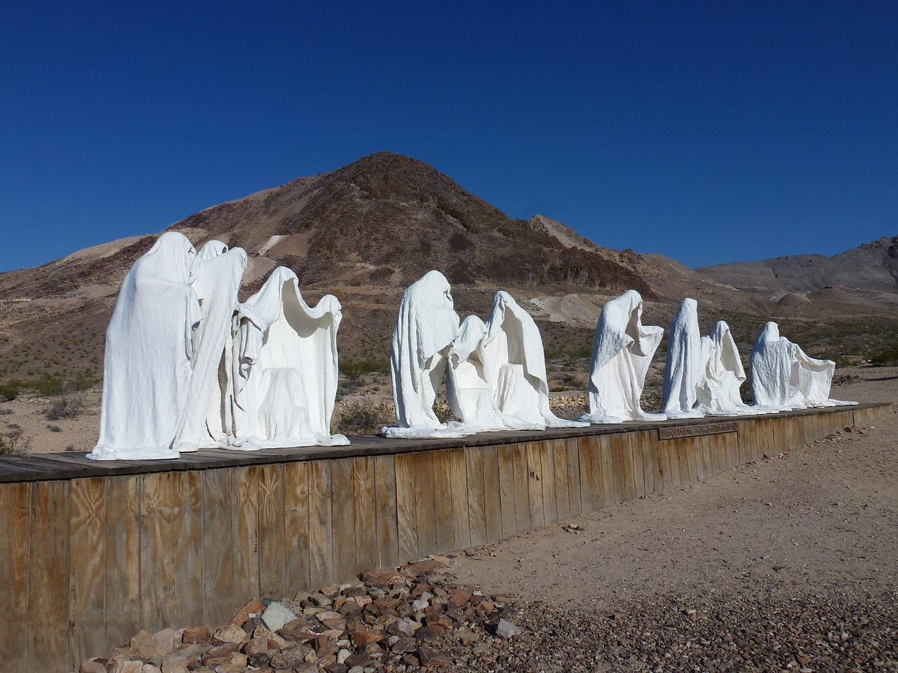 "More art at Rhyolite .<br /> <br /> This one is called ""the Last Supper "" <br /> <br /> A little strange , but seems to fit the area ."