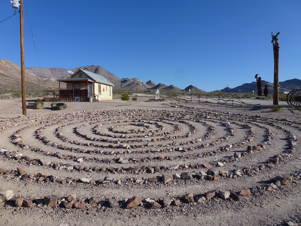 Stayed the night in Beatty, Nevada -in a air conditioned hotel !   Then in the morning headed for Death Valley .<br /> <br /> This is a art installation at Rhyolite, Nevada.      A ghost town, basically