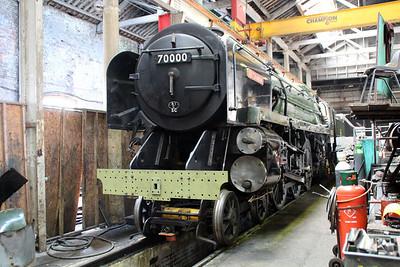 Steam 4-6-2 70000 'Britannia' inside Ian Rileys shed on East Lancs Railway    13/04/13