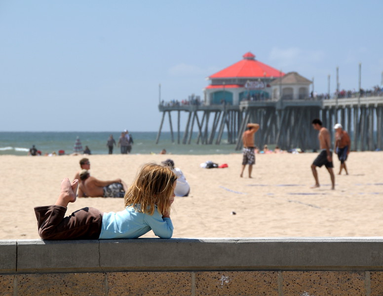 """In her own little world"", Huntington Beach Pier, HB, CA"