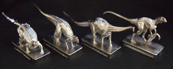 Silver Finish Left to Right: Minmi paravertebra, Muttaburrasaurus langdoni, Diamantinasaurus matildae and Australovenator wintonensis