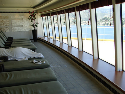 the mutual are of the spa and the men's and women's side had these very comfortable loungers with a great view (of the inside of our eyelids most of the time) off the front fo the ship.
