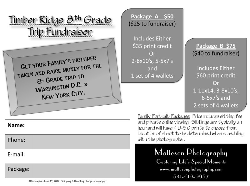 Fundraiser for Timber Ridge 8th Grade Trip