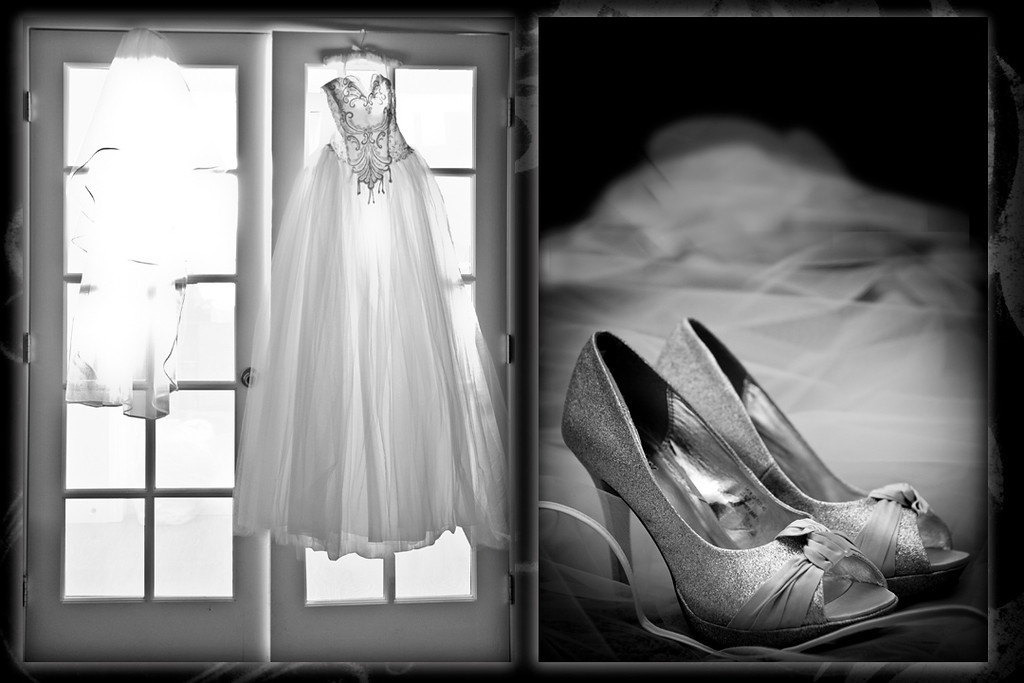 This is a photo of the brides dress and shoes just before getting ready.
