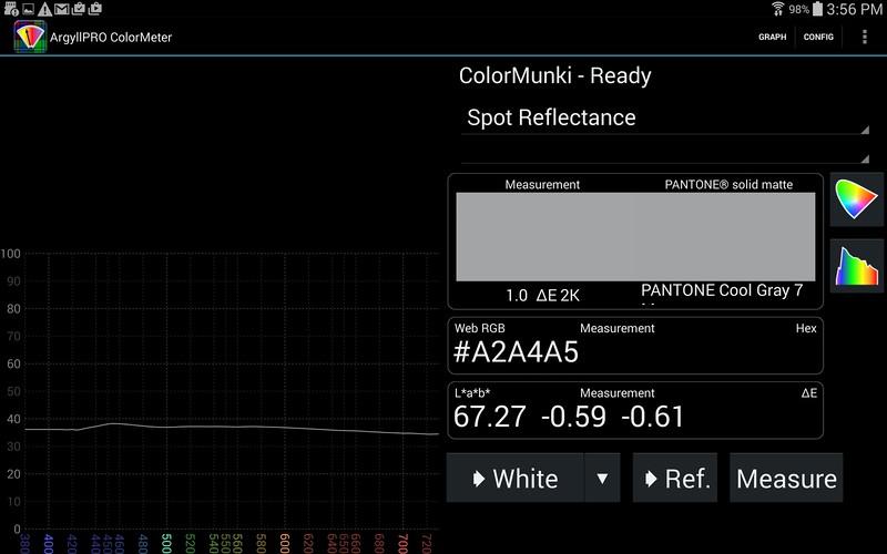 ColorChecker patch measurement with closest match to Pantone solid matte