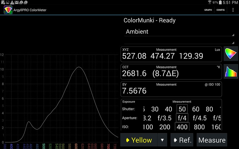 """ColorMeter Photography mode.  Incident light (Ambient mode).  The middle """"Y"""" number (474.27) is in Lux.   You can slide each of the Exposure (Shutter, Aperture, ISO) around to determine manual camera settings.  For this amount of light."""
