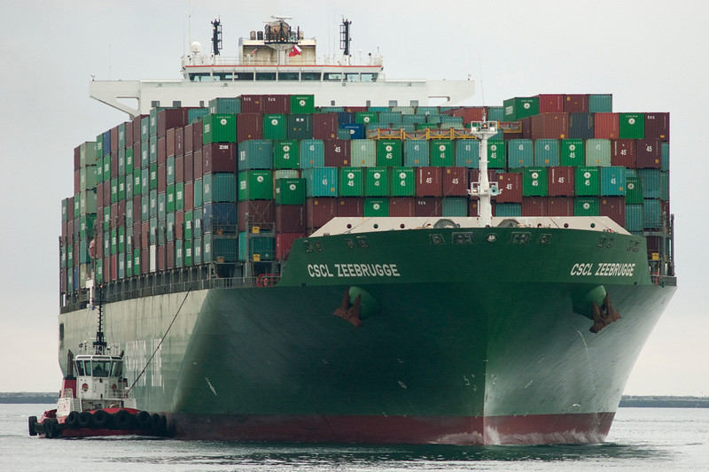 The container ship CSCL Zeebrugge turns into the Main Channel in the Port of Los Angeles during whale watching trip aboard the Spirit out of Ports O'Call Village in San Pedro, CA on January 26, 2013. Photo © Bernardo Alps/PHOTOCETUS/All rights reserved.