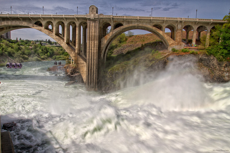 Lower Spokane Falls with the gondola's and the Monroe Street bridge.