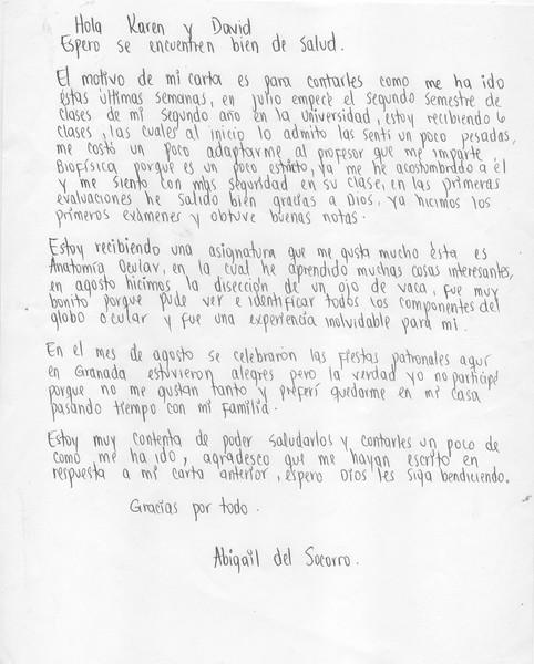 Letter from Abigail September 2014