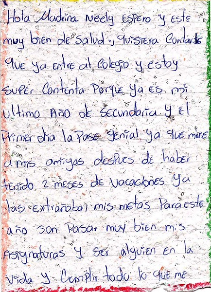 Letter from Ana Auxiliadora to Neely. March 2019.