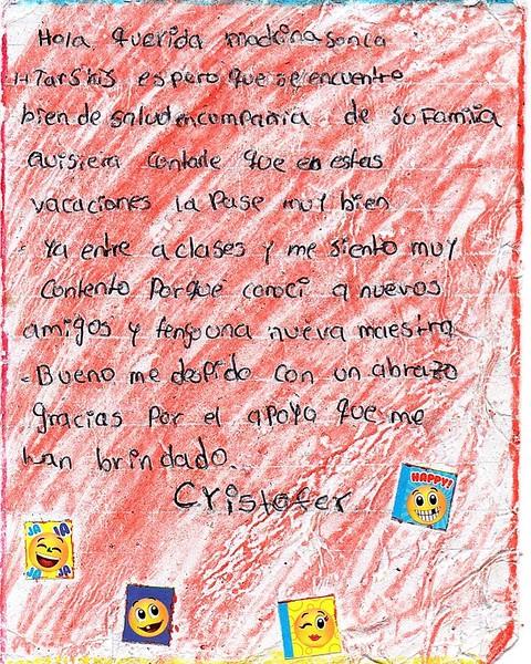 Letter from Cristofer Antonio to Sonja. March 2019.
