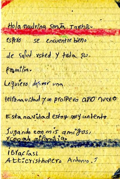 Letter from Cristhofer Antonio to Sonja, November 2018