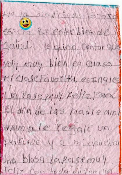 Letter from Cristhofer to Sonja. August 2019.