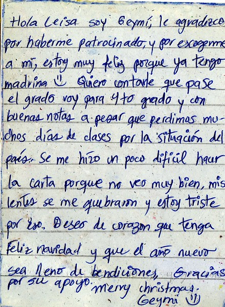 Letter from Geymy de los Angeles to Leisa. November 2018.