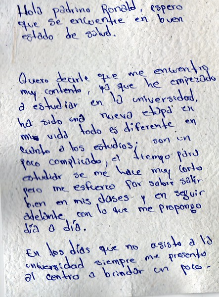 Letter from Jose Armando to ROnald. July 2019.