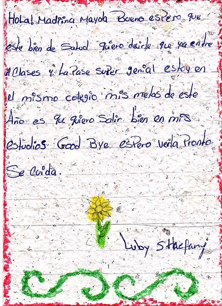 Letter from Luby Sthefany to Mayda. March 2019