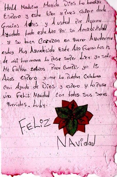 Letter from Luby to Mayda. December 2018.