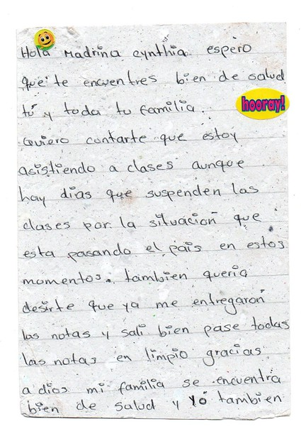 Letter from Luisa Fernanda to Cynthia. July 2018