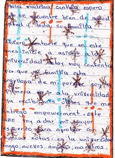 Letter from Luisa Fernanda to Cynthia. March 2019