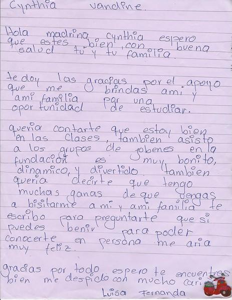 Letter from Luisa Fernanda to Cynthia Vandine Girand (Fall 2017)