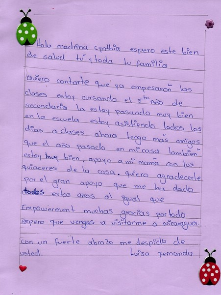 Letter from Luisa to Cynthia. May 2018