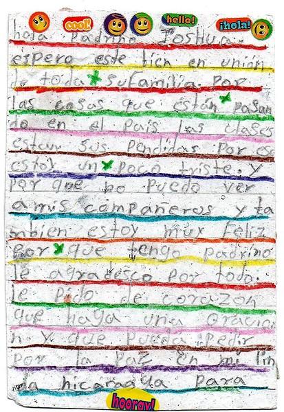 Letter from Massiel de los Angeles to Joshua. July 2018