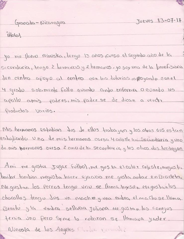 Letter from Ninoska de los Angeles to Karin Demarest (Fall 2017)