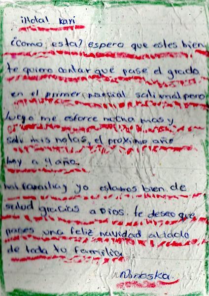Letter from Ninoska to Kari. December 2018.