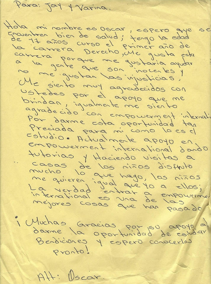 Letter From Oscar Jose to Jay and Varina Patel