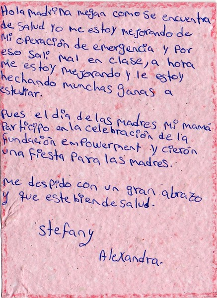 Letter from Stefany Alexandra to Megan. August 2019.