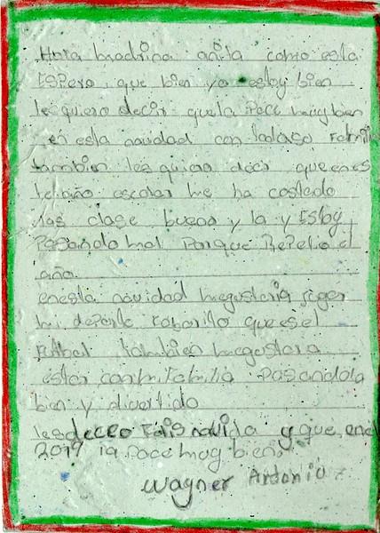 Letter form Wayner to Ana. December 2018.