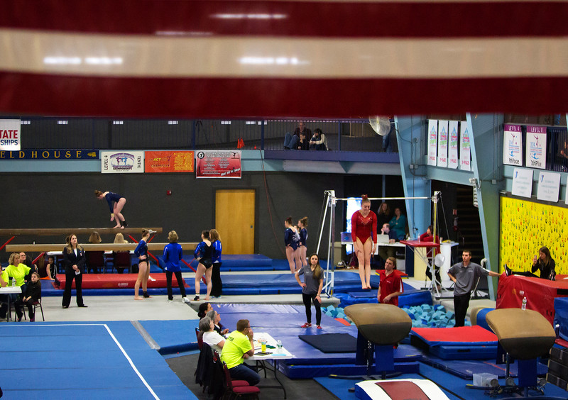 OLD TOWN, Maine -- 03/18/2017 --  Gymnasts compete during the 2017 Level 6-10 gymnastics state championship at the Old Town-Orono YMCA in Old Town Saturday. Ashley L. Conti | BDN