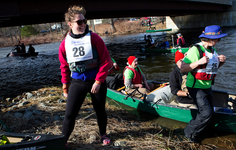 KENDUSKEAG, Maine -- 04/15/2017 -- Racers make their way to the start of the 51st annual Kenduskeag Stream Canoe Race Saturday. The 16-mile race starts in Kenduskeag and ends in downtown Bangor.  Ashley L. Conti | BDN