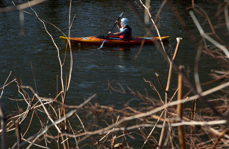 KENDUSKEAG, Maine -- 04/15/2017 -- Dakota Watson makes his way to Bangor during the 51st annual Kenduskeag Stream Canoe Race Saturday. The 16-mile race starts in Kenduskeag and ends in downtown Bangor.  Ashley L. Conti | BDN