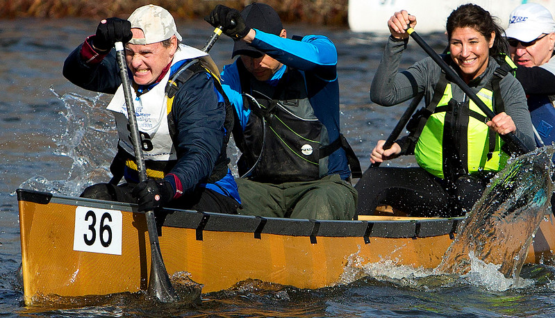 KENDUSKEAG, Maine -- 04/15/2017 -- A canoe with Rod McClain, Chris Francis, Mark Ranco, and Sue Soctomah makes its way across the start line during the 51st annual Kenduskeag Stream Canoe Race Saturday. The 16-mile race starts in Kenduskeag and ends in downtown Bangor.  Ashley L. Conti | BDN