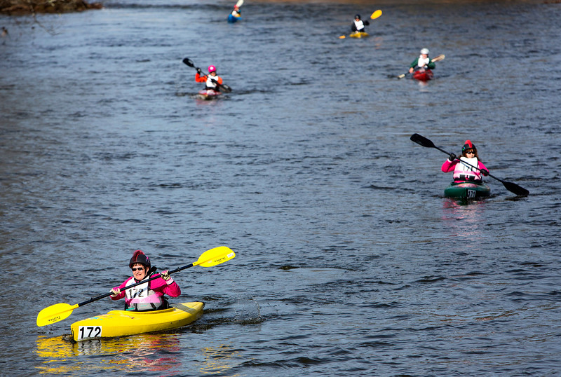 KENDUSKEAG, Maine -- 04/15/2017 -- Kayaks make their way towards Bangorduring the 51st annual Kenduskeag Stream Canoe Race Saturday. The 16-mile race starts in Kenduskeag and ends in downtown Bangor.  Ashley L. Conti | BDN
