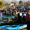 KENDUSEAG, Maine -- 04/15/2017 -- Racers wait for the start of the 51st annual Kenduskeag Stream Canoe Race Saturday. The 16-mile race starts in Kenduskeag and ends in downtown Bangor.  Ashley L. Conti | BDN